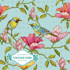 Vintage Card - Flowers and  Birds - for design and scrapbook