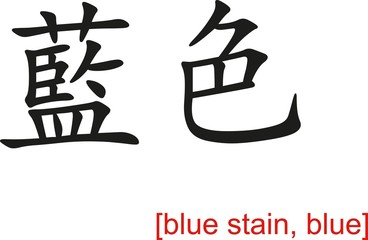 Chinese Sign for blue stain, blue