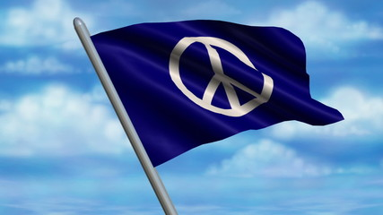 Looping Peace Sign Flag animation with sky background