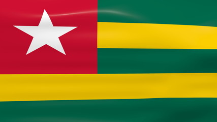 Waving Togo Flag, ready for seamless loop.