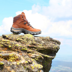 Trekking boots on the rock.