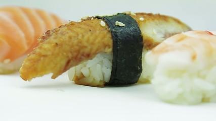 Nigiri sushi set with tuna, shrimp and eel