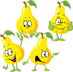 pear cartoon with hand gesturing isolated