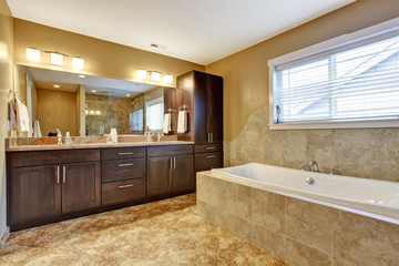 Modern bathroom interior with dark brown cabinets