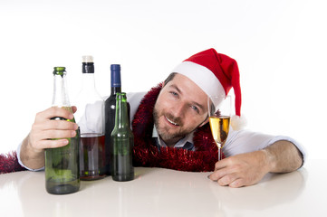christmas drunk businessman wasted drinking too