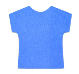 Flat blue T-shirt sticky note, isolated, with shadow