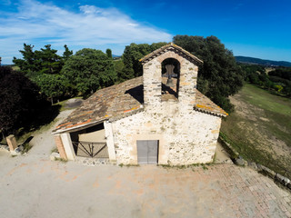 aerial view of small rural church in Cardedeu, Catalonia
