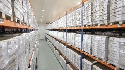 Logistic warehouse. Products on the shelves 3
