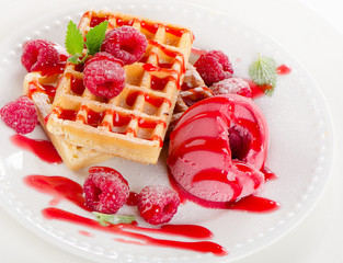 Belgian waffles with raspberries sorbet.