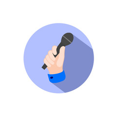 icon a hand with a microphone in flat style