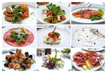 Collage of Various Italian Dishes. Italian Cuisine. Snacks.