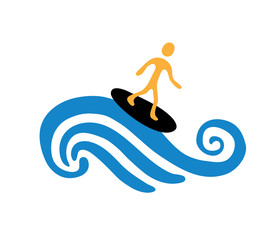 surfer on the wave, vector illustration