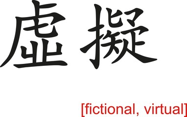 Chinese Sign for fictional, virtual