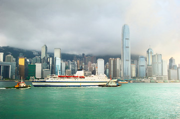 Hong Kong harbor, business center and ferry