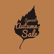 Big autumn sale sign, black silhouette, vector illustration