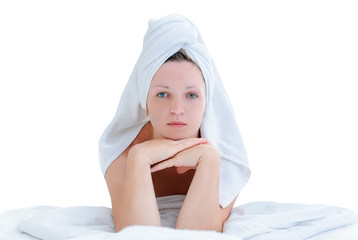 girl dressed in towel