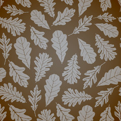 Oak leafs seamless pattern, vector illustration