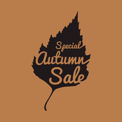 Big autumn sale sign, black silhouette, vector illustration