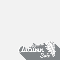 Big autumn sale sign, grey poster, vector illustration