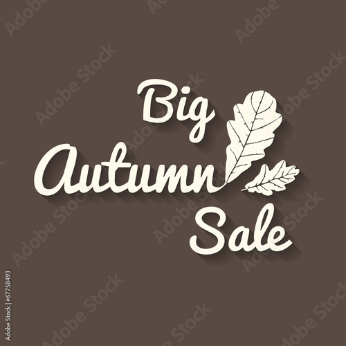 Big autumn sale sign with leaves, brown poster