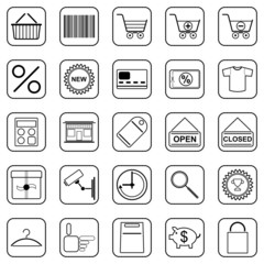 Shopping black contour icons