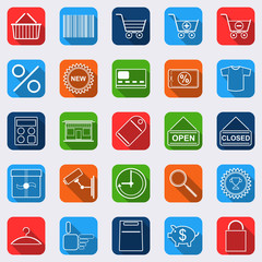 Shopping flat vector icons