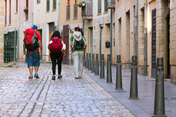 Pilgrims walking along way of St. James (Camino de Santiago)