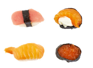Sushi top view isolated
