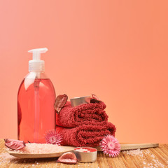 Soap, towel and aromatic salt