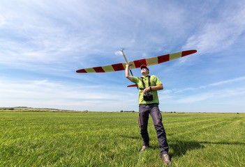 Man launches into the sky RC glider