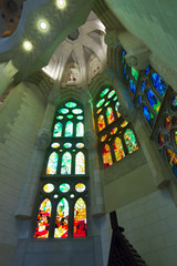 Detail of interior of Sagrada Familia