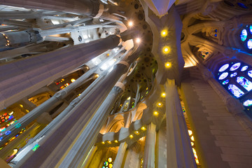 Interior of Sagrada Familia in Barcelona