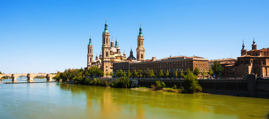 Basilica  and Ebro river. Zaragoza