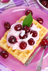 waffles with yogurt with fresh cherries