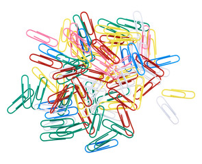 Pile of colorful office paper clips
