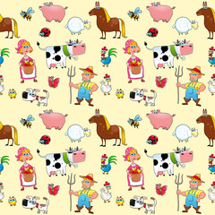 Funny farm animals with background.