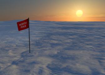Polo nord neve ghiaccio bandiera