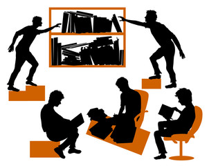 Silhouettes of students learning in library