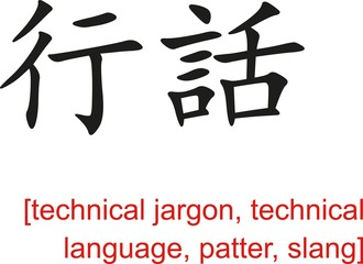 Chinese Sign for technical jargon, patter, slang