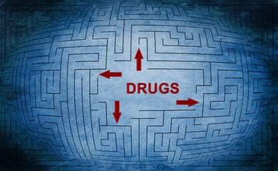 Drugs maze concept