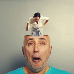 angry woman in the head of man