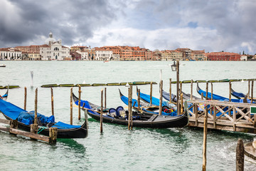 Gondola docked in venice