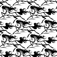 Seamless pattern of horse stallions