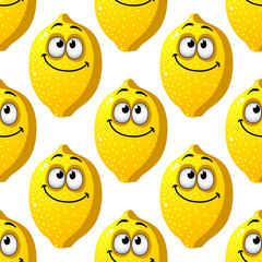 Seamless pattern of smiling yellow lemons