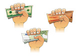 Hand grasping money with dollar, euro and pound banknotes poster