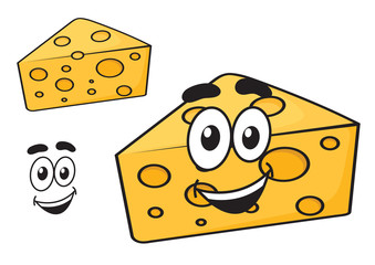 Smiling happy cartoon wedge of cheese