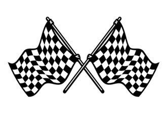 Two crossed black and white checkered flags