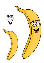 Happy smiling yellow cartoon banana fruit