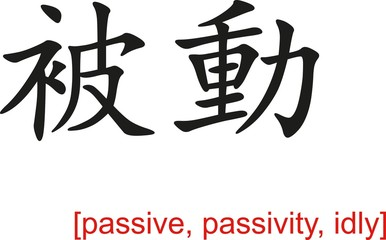 Chinese Sign for passive, passivity, idly