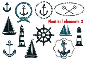 Set of nautical heraldry themed elements
